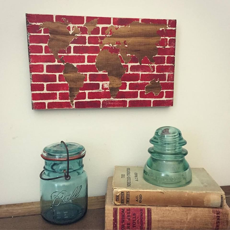 A stenciled canvas with a world map stenciling completed with the a stenciled canvas with a world map stenciling completed with the brick pattern from cutting gumiabroncs Gallery