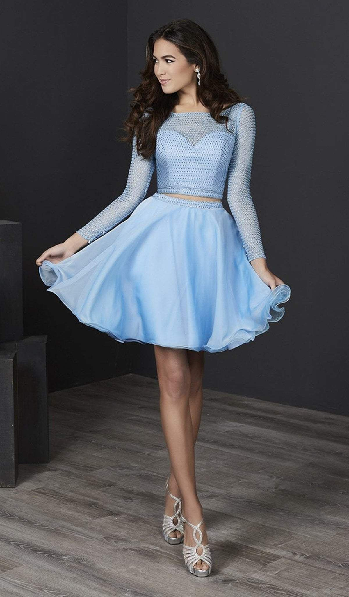 Tiffany Homecoming 27232 Long Sleeve Sheer Lattice Two Piece Dress In 2020 Short Dresses Dresses Piece Dress [ 2048 x 1200 Pixel ]