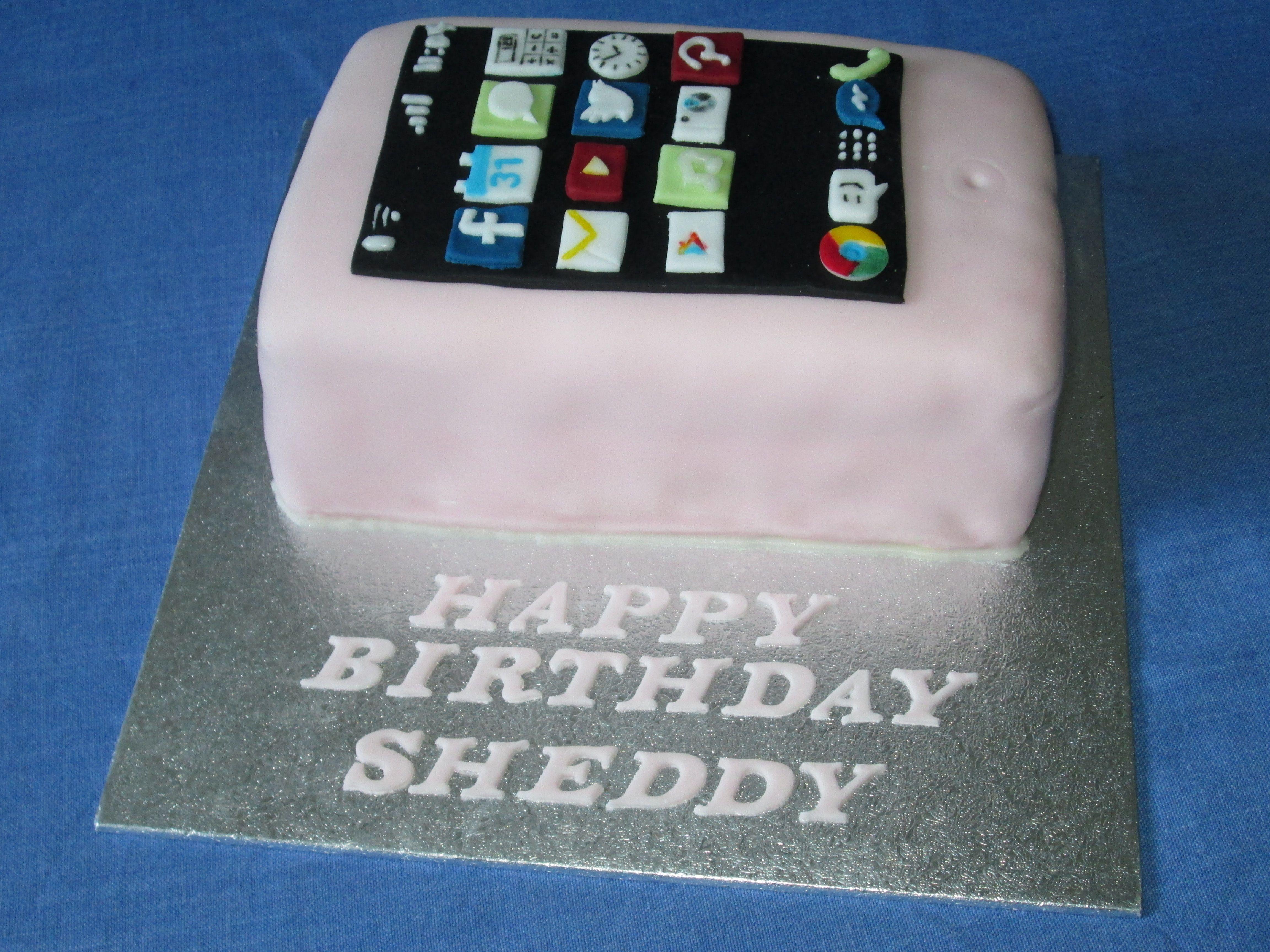 Sponge Mobile Phone Cake Cake Pinterest