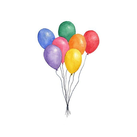 Balloons Watercolor Clipart Png Instant Download Hand Painted