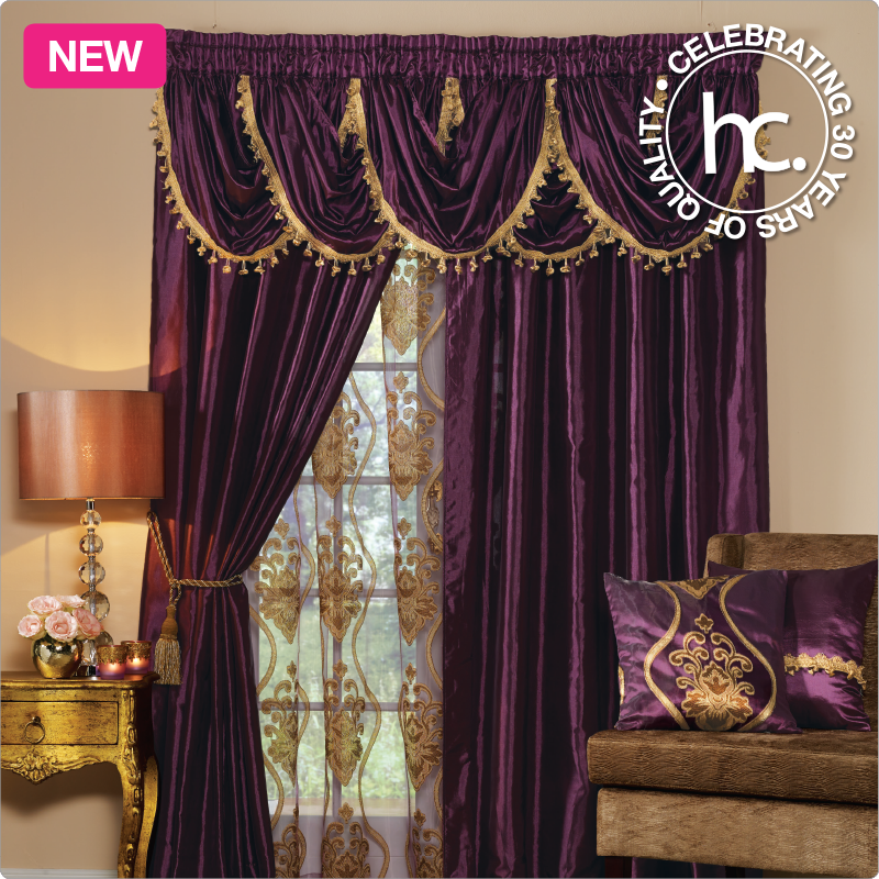 The Zarita Satin Curtains Bring You Decorative Gold Style With A Valance Featuring Tassled