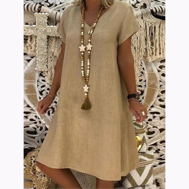 dbc808515618 Casual Solid V-Neck Plus Size Dress – jullymart