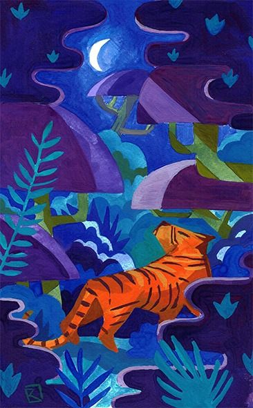 Tiger Jungle Gouache sur papier