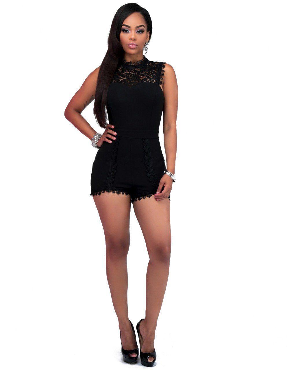 426038b6e7e Lace Patchwork Sexy Summer Women Jumpsuits Rompers Shorts Bodysuit Overalls  For Women Plus Size Black Elegant Playsuit Ladies