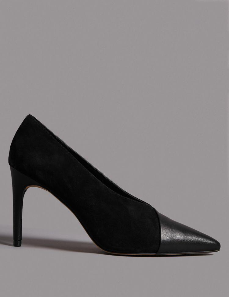 Leather Stiletto Heel Wrap Court Shoes