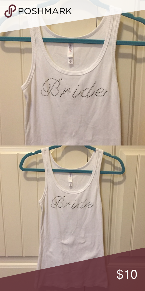 Bride tank top White robbed tank top with bride in crystals. Size medium. Excellent condition Tops Tank Tops