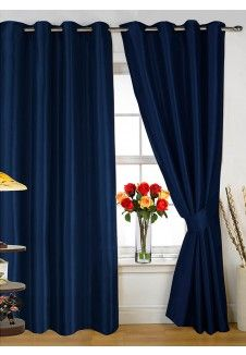 Explore Bedroom Decor Dark Blue And More Plain Eyelet Curtains Set