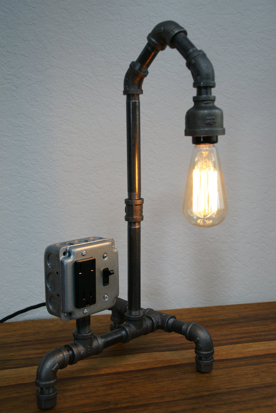 Vintage Style Iron Pipe Desk Lamp W Usb By Ironlumberandlight 169 00