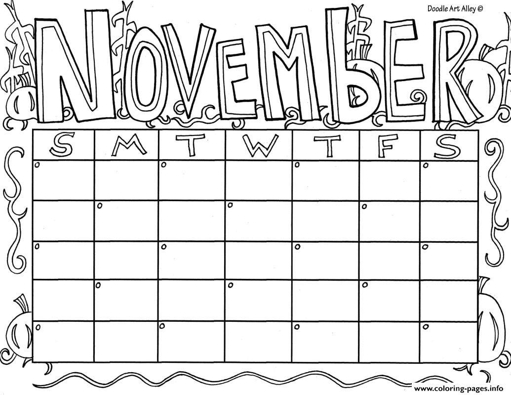 Print November Calendar Coloring Pages Coloring Calendar Kids