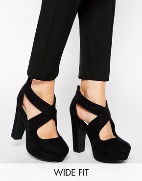 New Look - Poath - Chaussures pointure large à talon et plateforme avec  bride - Noir