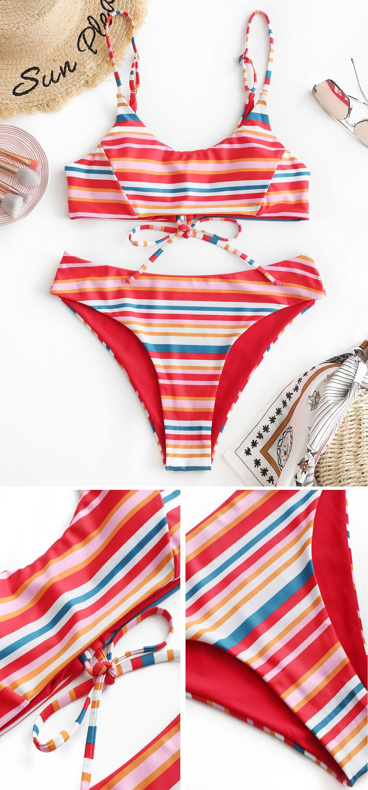 8a20818438 Multicolor Stripe Bralette Bikini Set in 2019 | 2019 summer bikinis ...