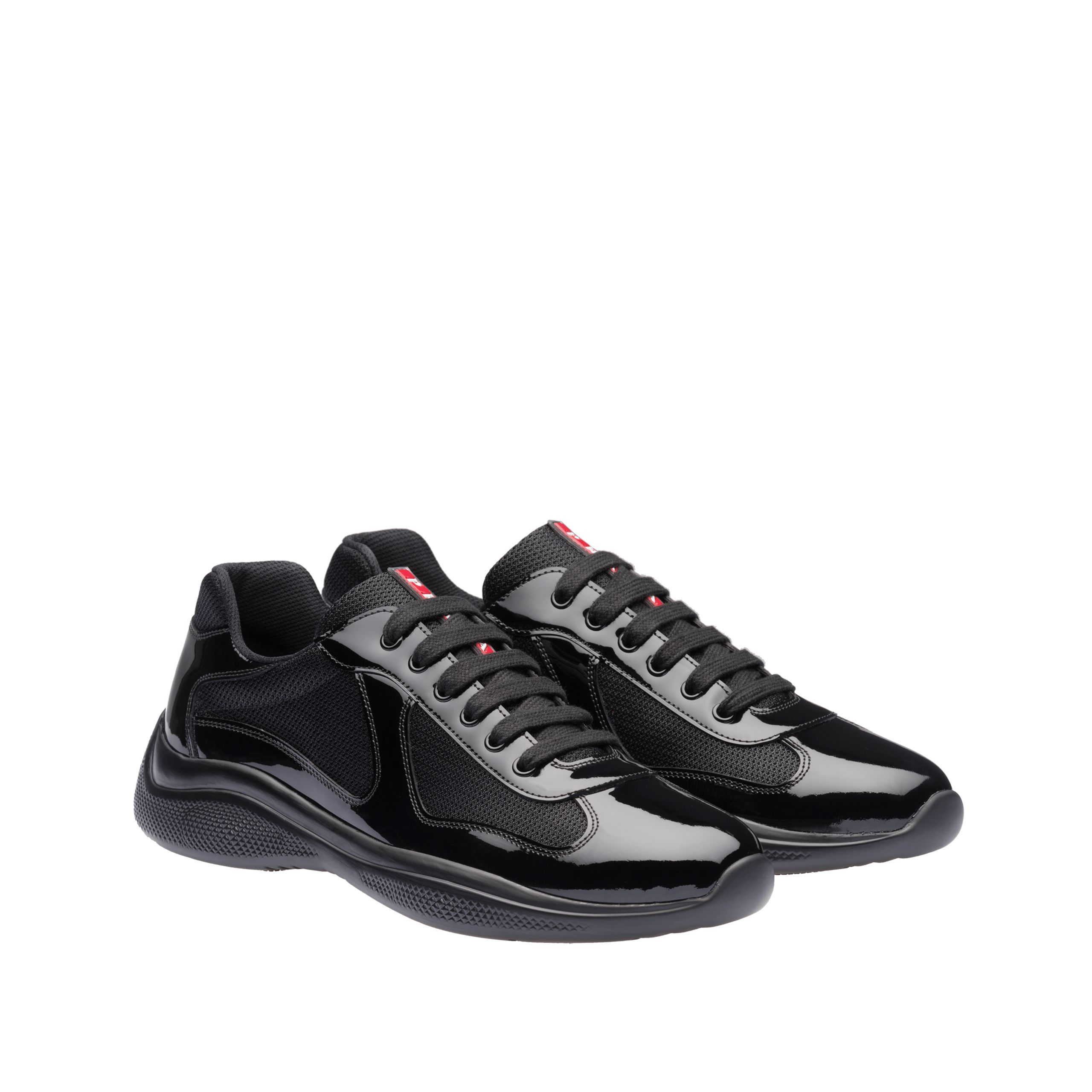 Patent leather and technical fabric