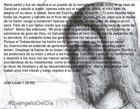 """#EvangelioDelDia ... """"porque el miró con bondad la pequeñez de tu servidora"""" ..."""