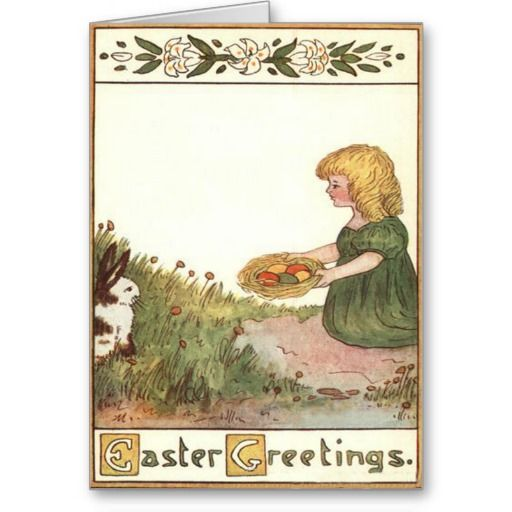 Easter Bunny Basket Lily Colored Egg Card