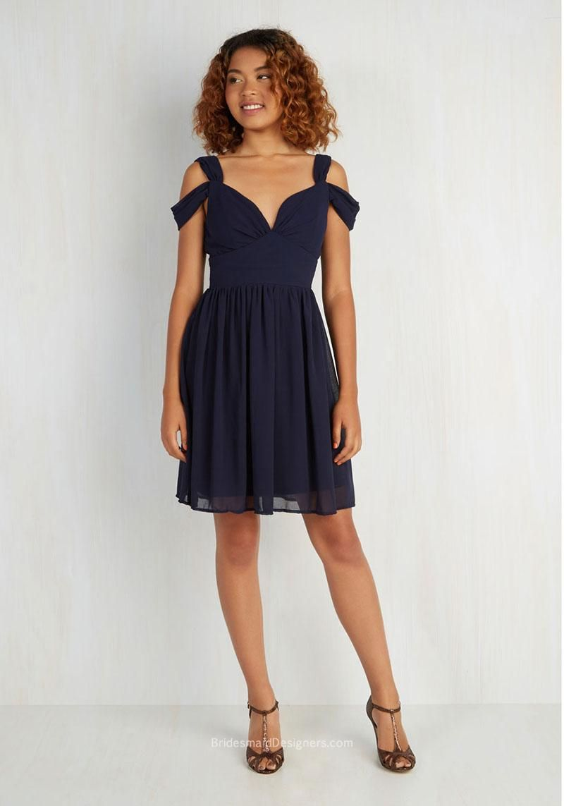 6ac4042c18e3 A-line Off-the-shoulder Short Chiffon Bridal Party Dress in Navy Blue
