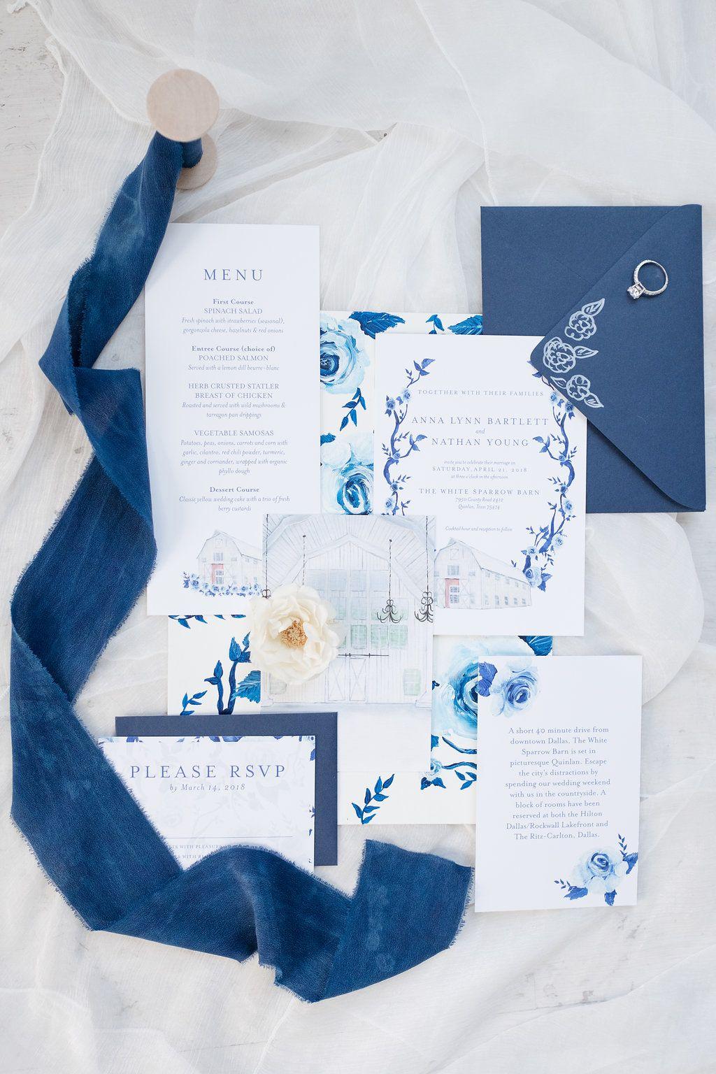 White Sparrow Dallas Wedding   Hand Painted Wedding Invitation ...