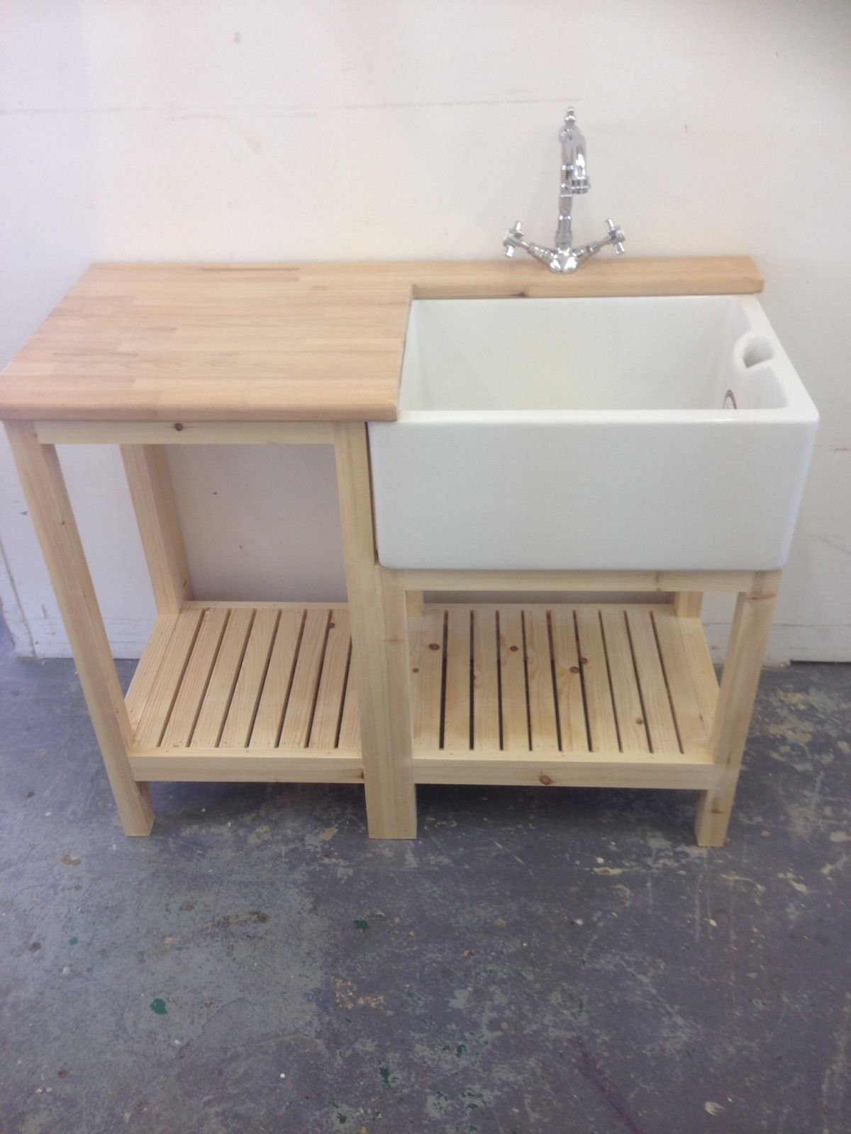 belfast sink unit drainer worktop french tap waste complete set 545 - Small Kitchen Sink With Drainer