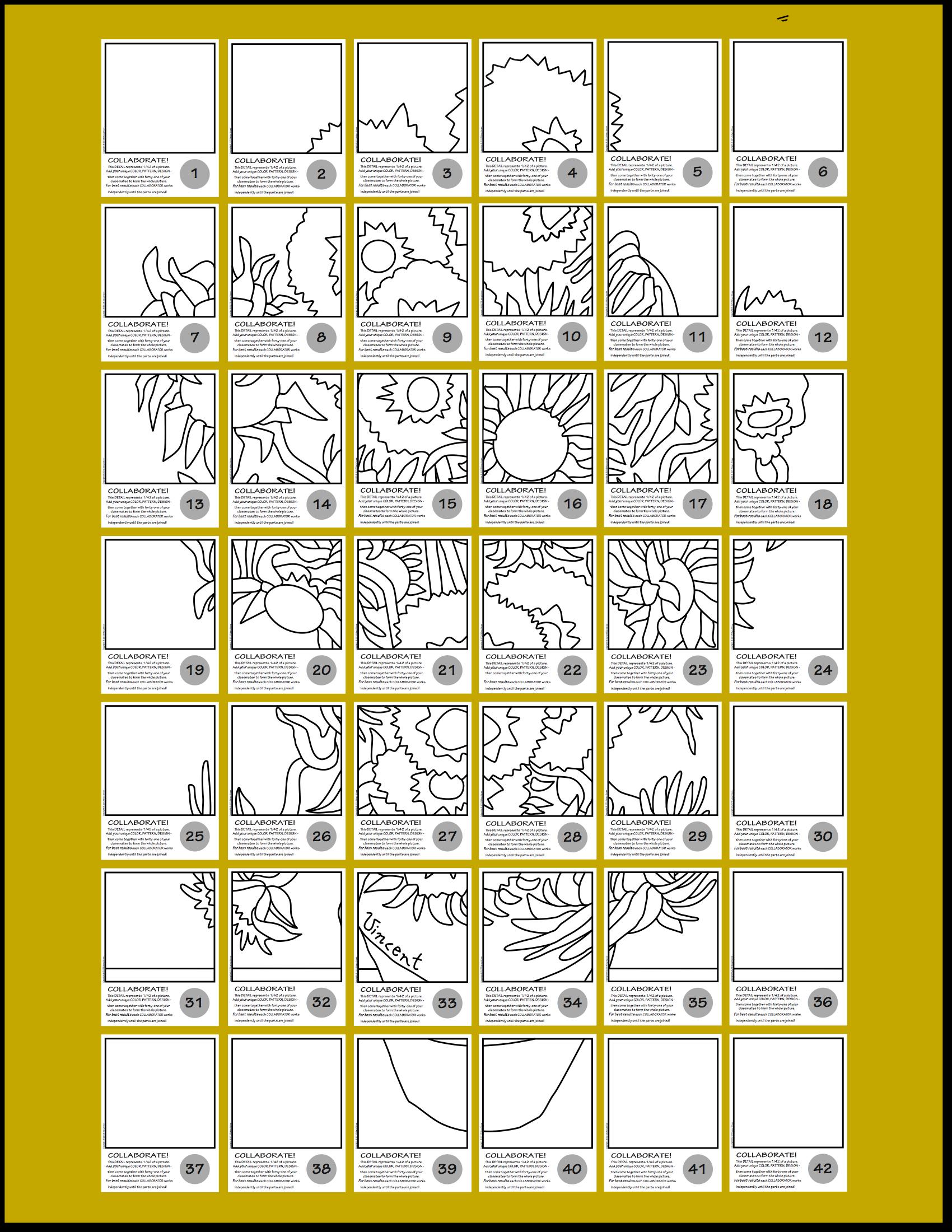 Sunflower Art Worksheet