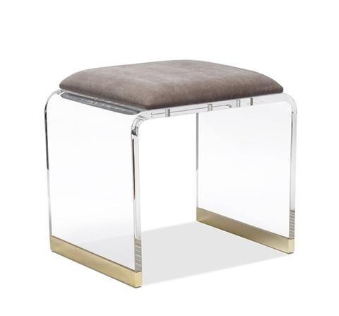 Brynn Stool In Grey Velvet Design By Interlude Home