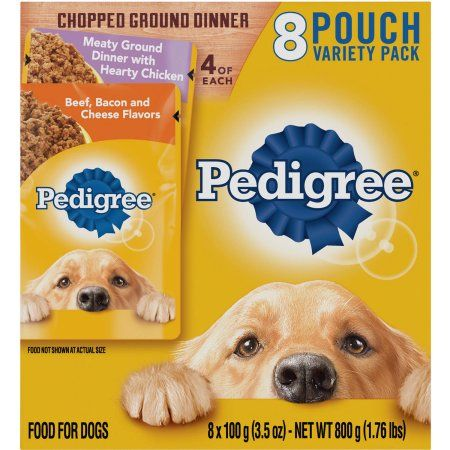 Pedigree Chopped Ground Dinner Variety Pack Hearty Chicken and Beef, Bacon & Cheese 3.5 oz (8 Count)