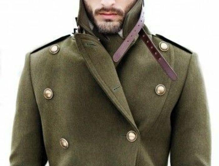 Manteau long officier homme