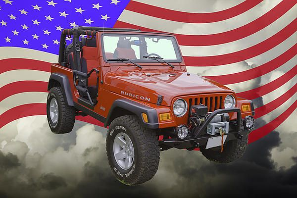 Jeep Wrangler Rubicon With American Flag on fine art canvas poster prints.
