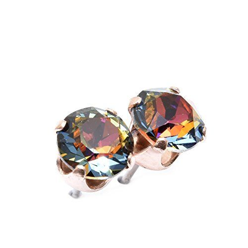 [Sponsored]pewterhooter Rose Gold stud earrings expertly made with Volcano crystal from SWAROVSKI®. FTnRV8U