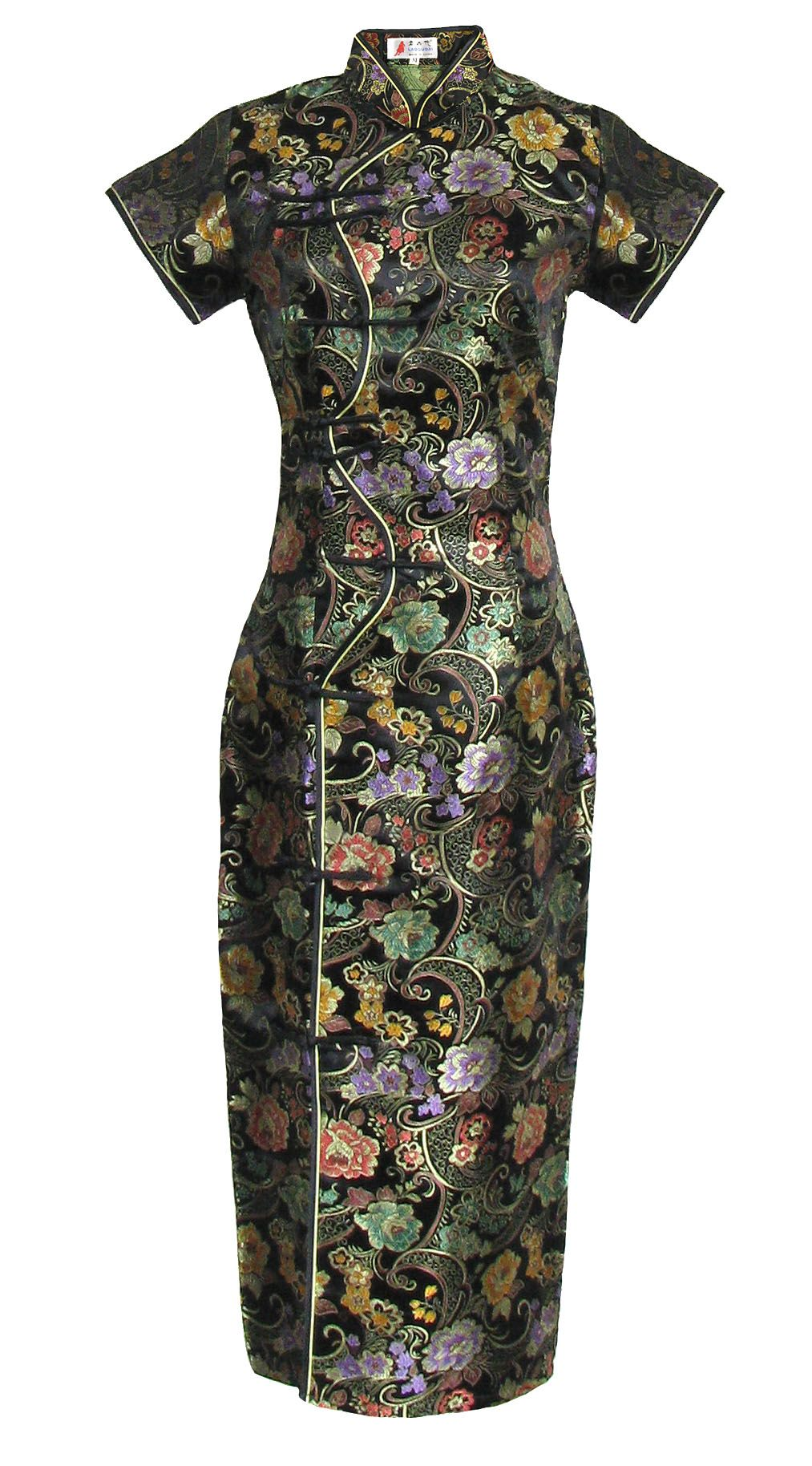 Robe Chinoise Longue Noire A Manches Asian Outfits Clothes Design Qipao Dress