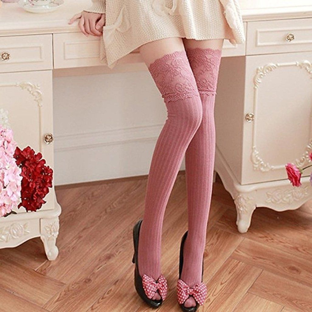 f05f98d247b Amazon.com  Top Cheer Women Knitting Lace Cotton Over Knee Thigh Stockings  High Socks Pantyhose Tights (Black)  Clothing