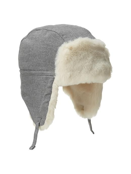 14611efab254 Faux-fur flannel trapper hat