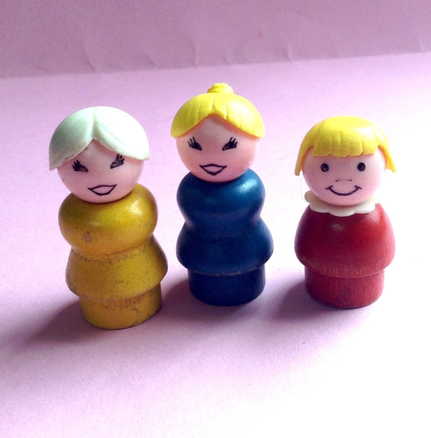 Vintage 70s Fisher Price Little People Wooden Body Plastic Head Lot of 3 Pretend Play