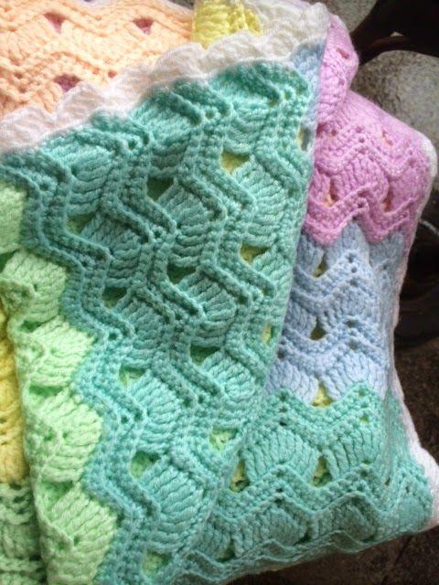 Afghan, Baby blanket, Vintage Fan Ripple stitch, Crochet, free ...