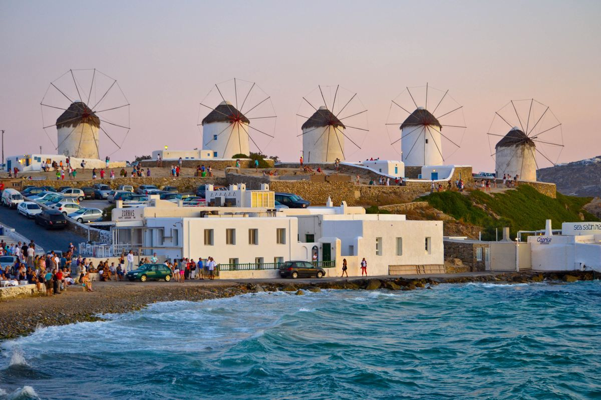 Mykonos, Greece - Windmills (Kato Mili) The windmills lined up on ...