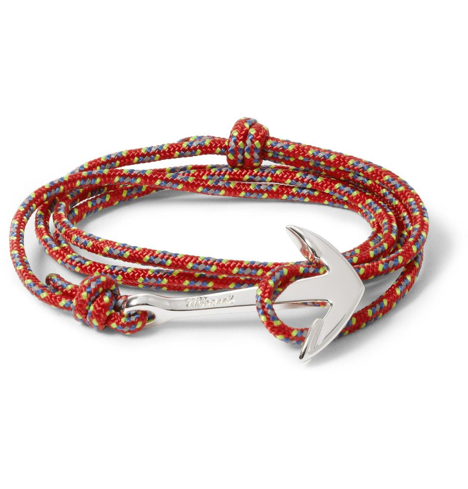 Miansai - Rope and Silver-Plated Anchor Bracelet|MR PORTER