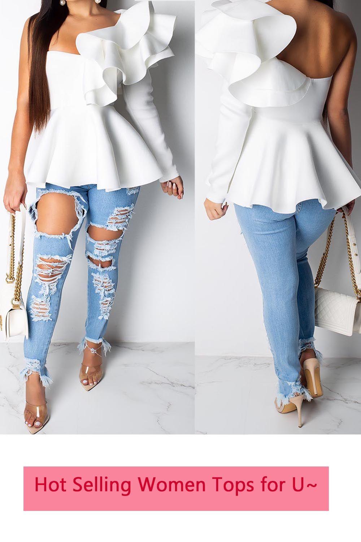 0dba5ab49e8 Falbala Plain Mid-Length Long Sleeve Blouse | Ladies Tops in 2019 ...
