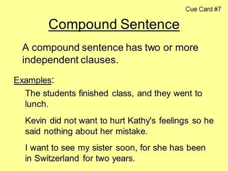 cue card 7 compound sentence language pinterest sentences