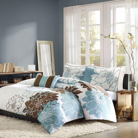 Home Essence Chloe Blue Brown 4 Pc Comforter Set Shopko Comforter Sets Bedroom Comforter Sets Bedding Sets