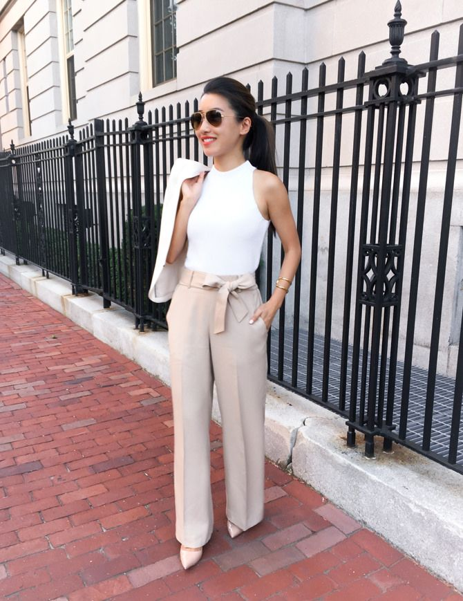 Linen Wide Leg Pants Summer Work Outfit Ann Taylor Pees