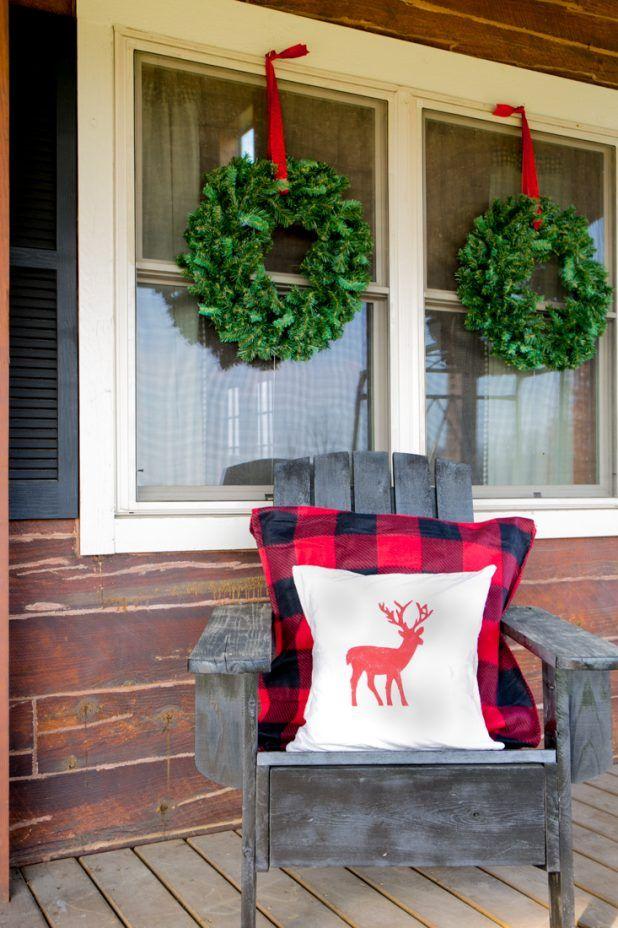 diy no swing wreath hanger buffalo check fabric deer print pillow cover adirondack - Decorating Adirondack Chairs For Christmas