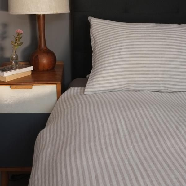 Natural Striped Linen Duvet Cover Made In London From Www Aerende Co
