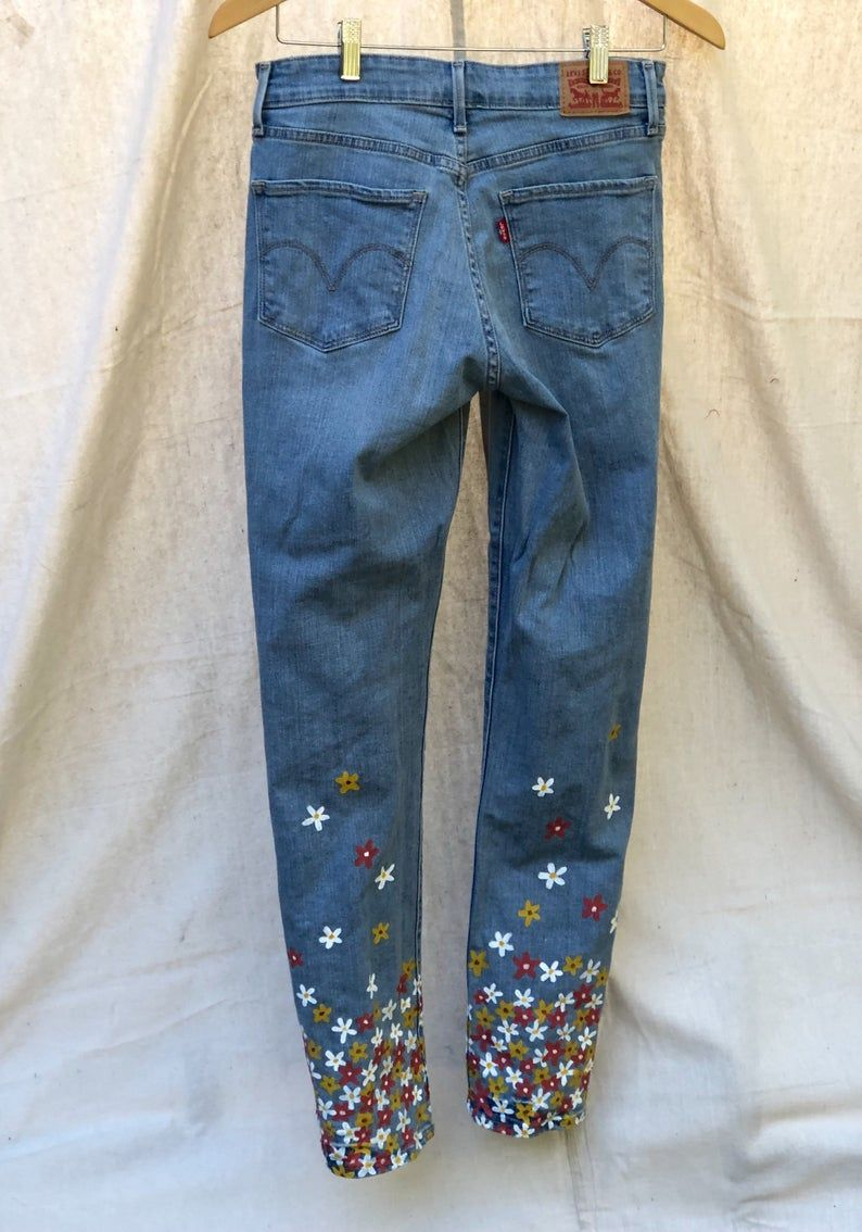 Floral hand painted levis jeans in 2020 painted jeans