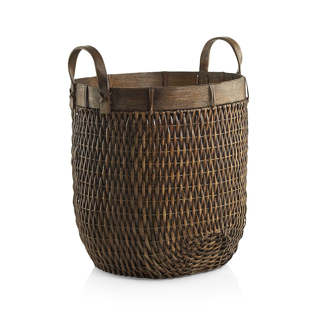 Halton Oval Rattan Basket Tall Crate and Barrel Rattan