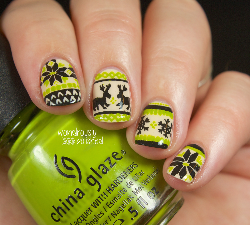 christmas-sweater-nail-art-green-black-nails-snowflake-fair-isle-reindeer+6.png (800×719)