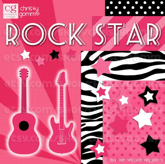 Rock Star Clip Art Instant Download Pink, Zebra, Guitar