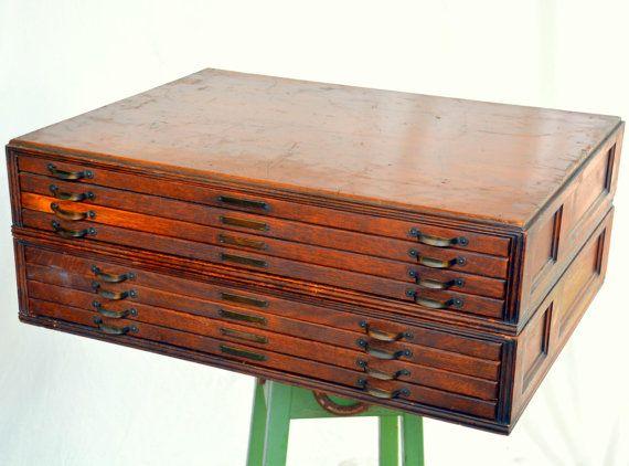 Modular Antique Wooden Flat File / Map Cabinet: Large Rustic 8 Drawer Tiger  Oak Organizer   Letterpress / Watchmaker / Card Catalog Storage