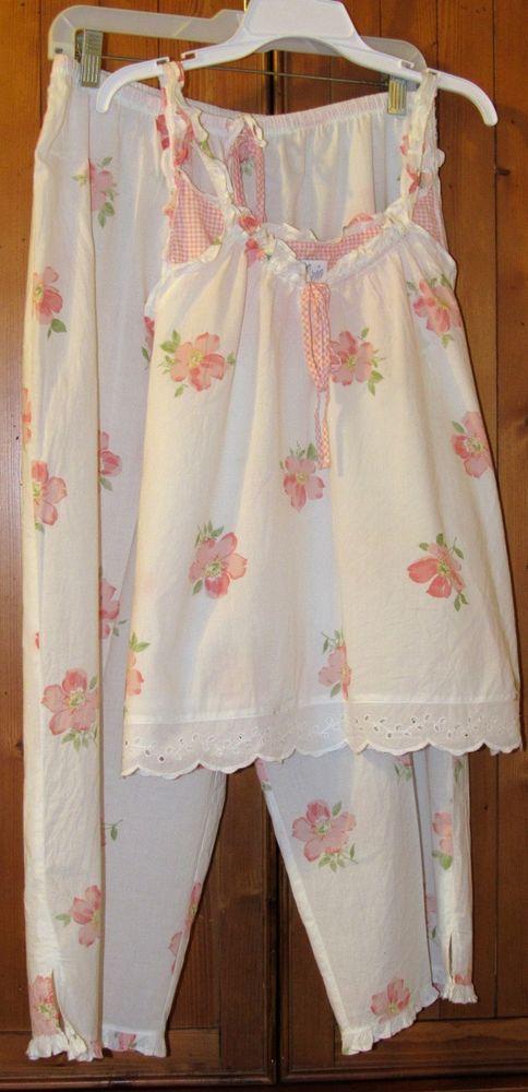 Aria Lace Trim Sleeveless Top Capri Bottom Floral Printed Cotton