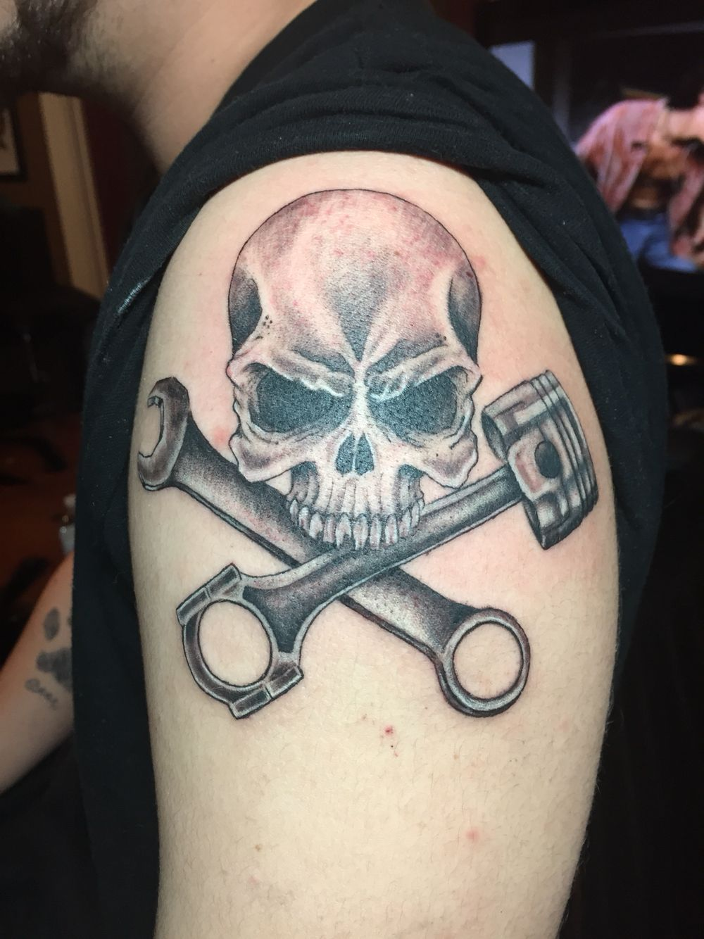 Skull piston and wrench tattoo by audrey mello my art for Skull piston tattoo