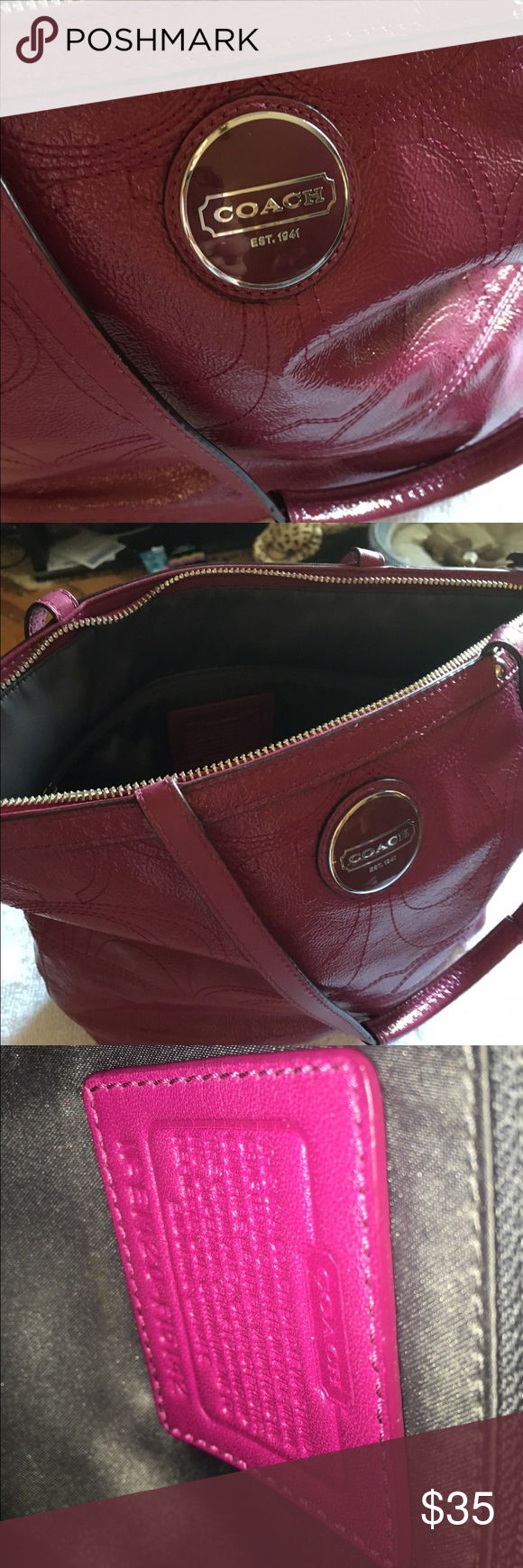 Coach handbag Used a lot, but in still good condition ! But can tell it is used! Coach Bags Totes