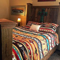 Southwest Turquoise Tan Red Native American Queen Comforter Set 8