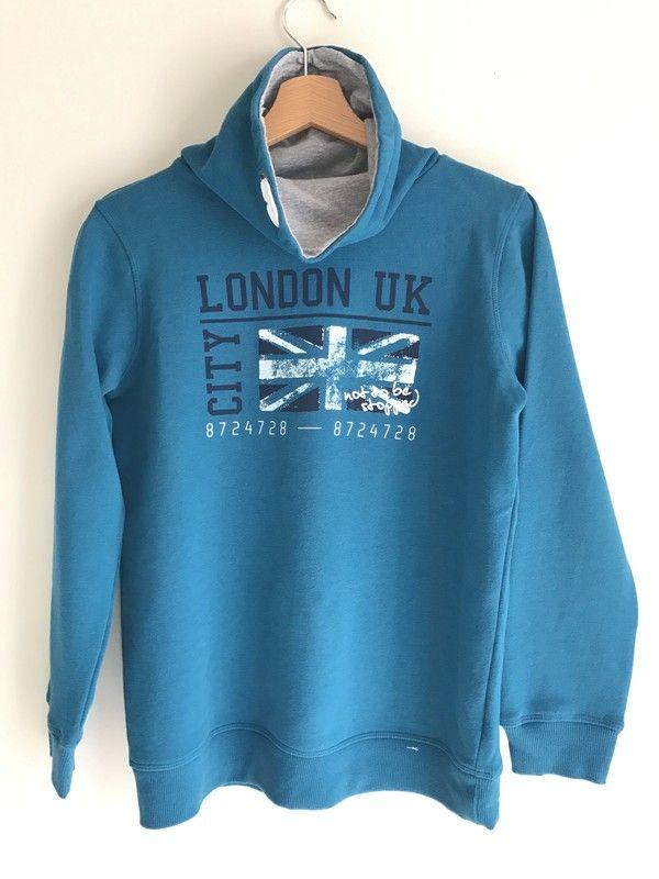 663dd000abcc Sweat junior - Sweat bleu roi avec col montant (intérieur gris clair)  Parfait avec
